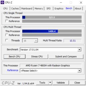 ドスパラ,raytrek G5-R,レビュー,ブログ,CPU,Ryzen 7 4800H,性能,ベンチマーク,CPUZ