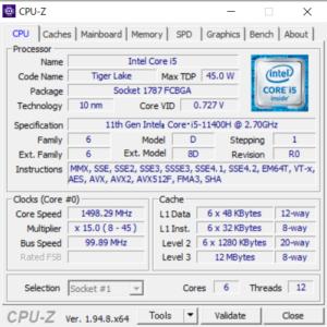 ドスパラ,GALLERIA RL5C-R35T,レビュー,性能,Core i5-11400H,CPUZ,