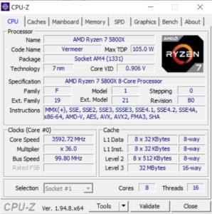 マウスコンピューター,G-Tune EP-A-6700XT,レビュー,CPU,Ryzen 7 5800X