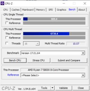 マウスコンピューター,G-Tune EP-A-6700XT,レビュー,CPUZ,Ryzen 7 5800X