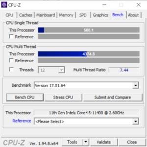 ドスパラ,GALLERIA RM5C-R36T,レビュー,CPU,Core i5-11400,性能,ブログ,CPUZ