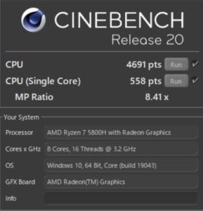 G-Tune E5-165,Ryzen 7 5800H,レビュー,CPU,R20,性能,ブログ,ベンチマーク