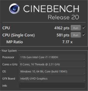 DAIV 5P,CPU,Core i7-11800H,比較,性能,レビュー,ベンチマーク,R20